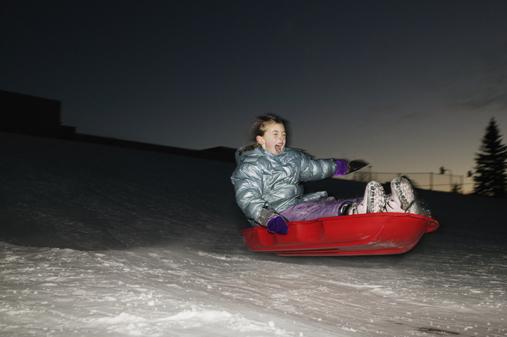Hausberg Night Family Sledding